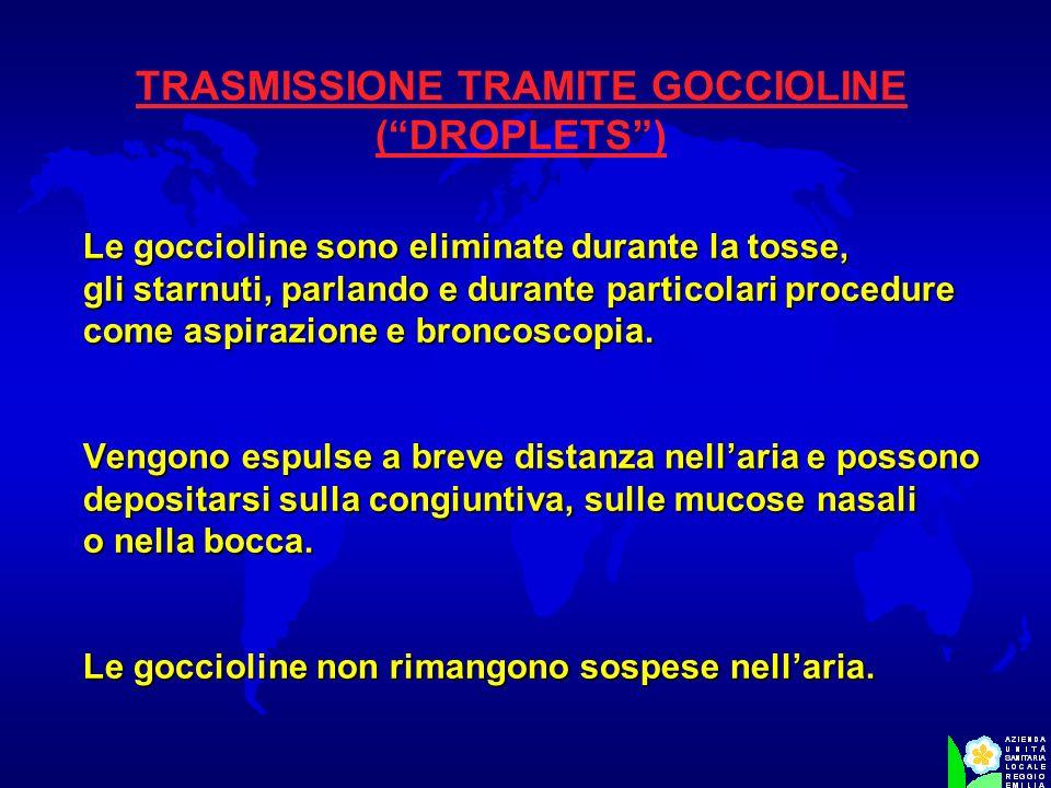 TRASMISSIONE TRAMITE GOCCIOLINE (DROPLETS) Le goccioline sono eliminate durante la tosse, gli starnuti, parlando e durante particolari procedure come