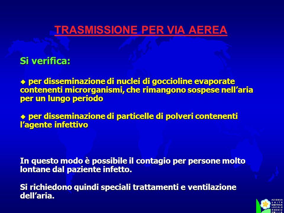 TRASMISSIONE PER VIA AEREA Si verifica: u per disseminazione di nuclei di goccioline evaporate contenenti microrganismi, che rimangono sospese nellari
