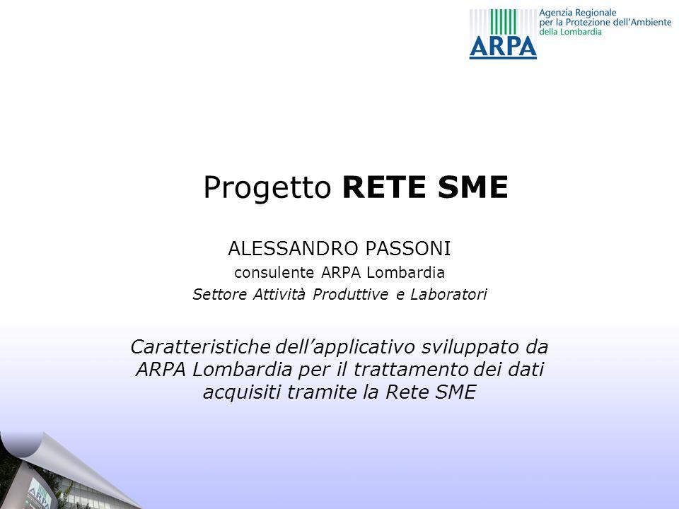 Progetto RETE SME ALESSANDRO PASSONI consulente ARPA Lombardia Settore Attività Produttive e Laboratori Caratteristiche dellapplicativo sviluppato da