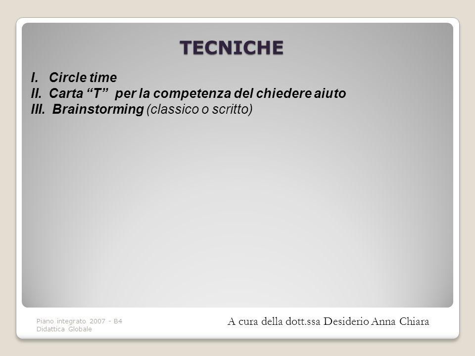 Piano integrato 2007 - B4 Didattica Globale TECNICHE I.Circle time II.Carta T per la competenza del chiedere aiuto III. Brainstorming (classico o scri