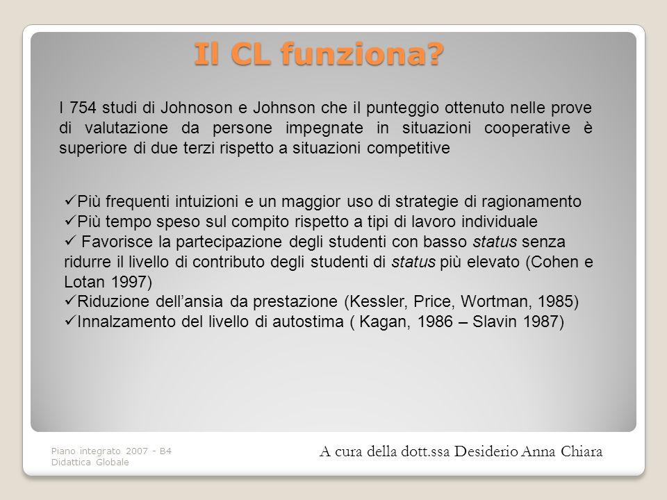 Piano integrato 2007 - B4 Didattica Globale Il CL funziona? I 754 studi di Johnoson e Johnson che il punteggio ottenuto nelle prove di valutazione da
