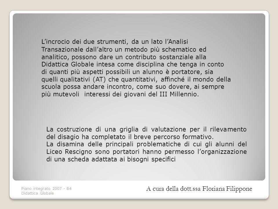 Piano integrato 2007 - B4 Didattica Globale Le azioni dellinsegnante Progettare lattività Gestire il contesto dapprendimento A cura della dott.ssa Desiderio Anna Chiara