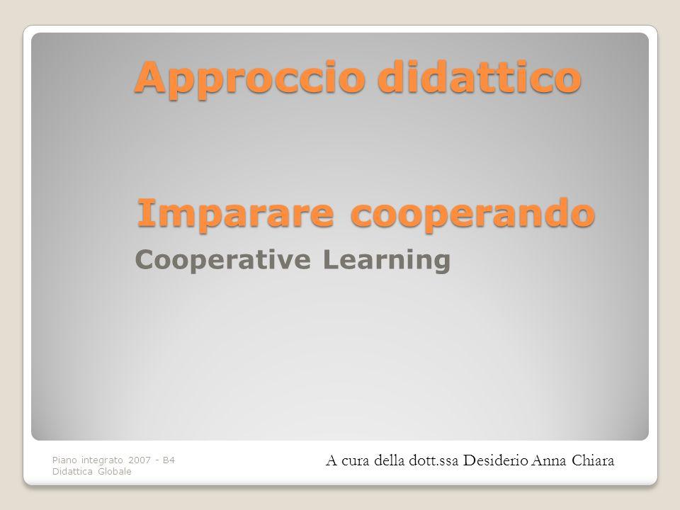 Piano integrato 2007 - B4 Didattica Globale Approcciodidattico Approccio didattico A cura della dott.ssa Desiderio Anna Chiara Cooperative Learning Im