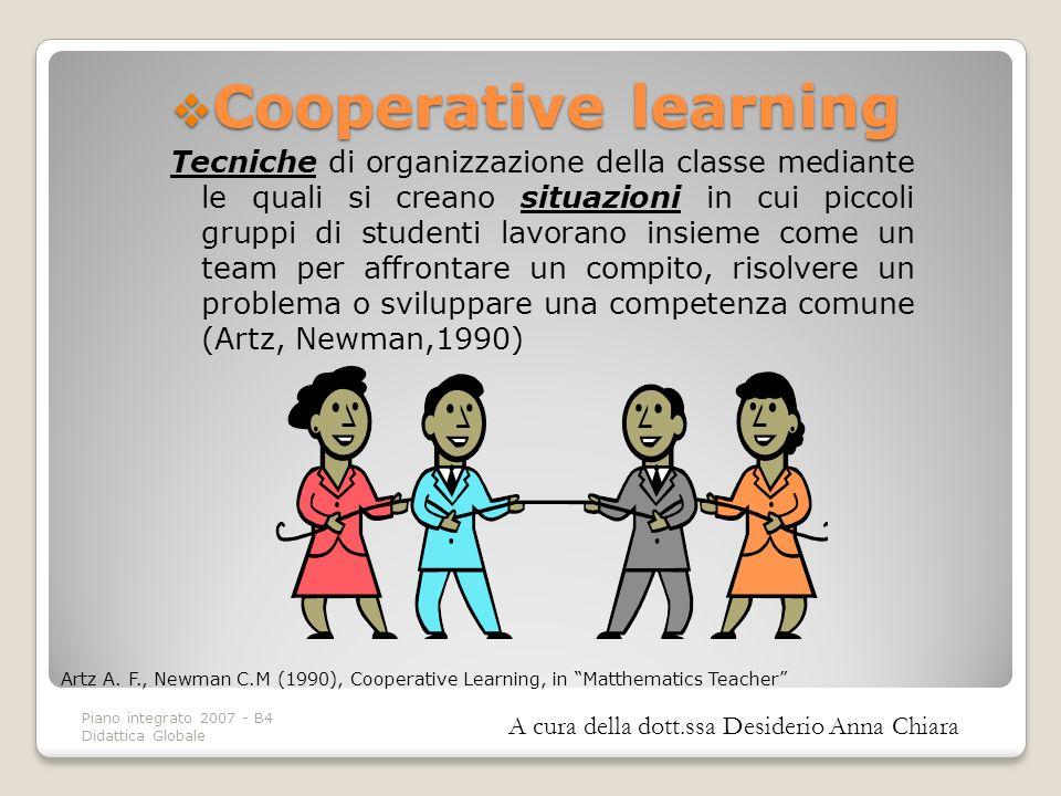 Piano integrato 2007 - B4 Didattica Globale Artz A. F., Newman C.M (1990), Cooperative Learning, in Matthematics Teacher Cooperative learning Cooperat