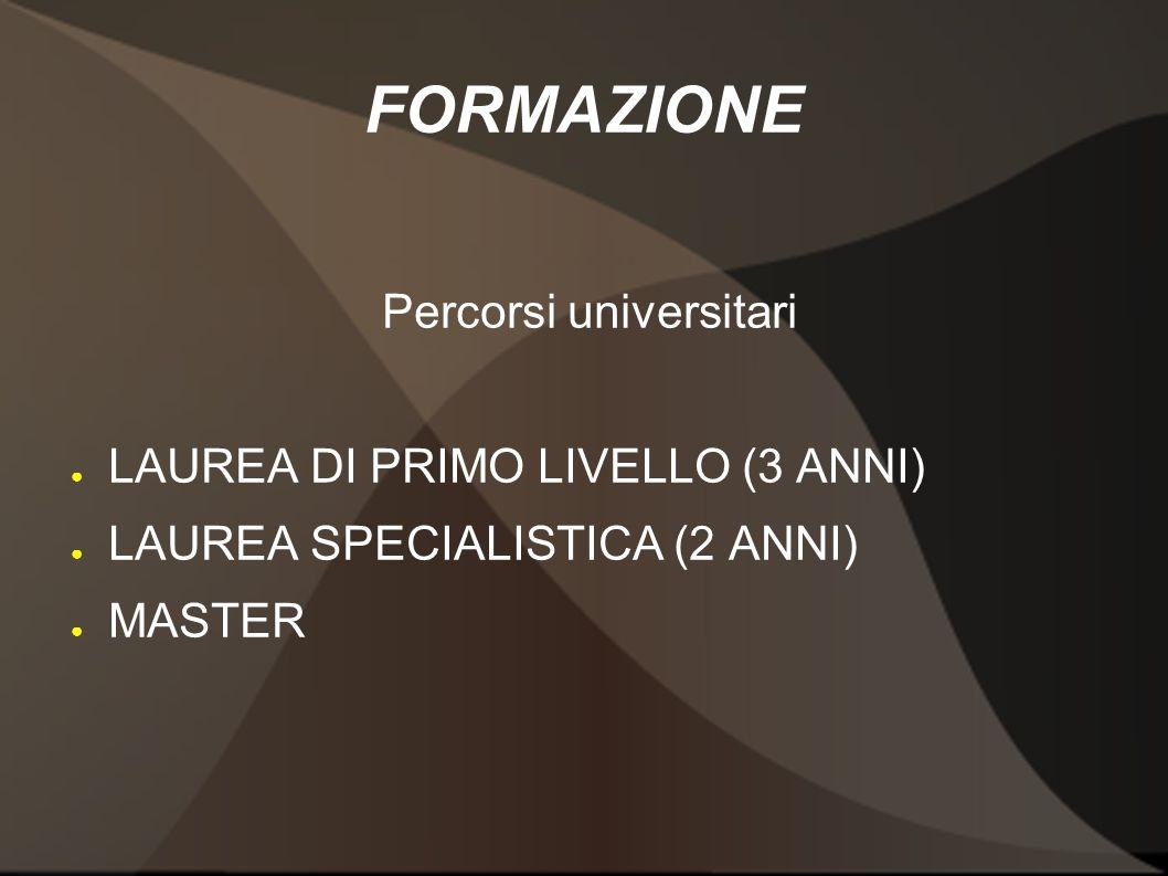 FORMAZIONE Percorsi universitari LAUREA DI PRIMO LIVELLO (3 ANNI) LAUREA SPECIALISTICA (2 ANNI) MASTER