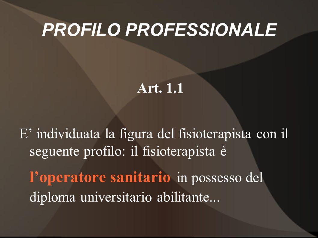PROFILO PROFESSIONALE Art. 1.1 E individuata la figura del fisioterapista con il seguente profilo: il fisioterapista è loperatore sanitario in possess
