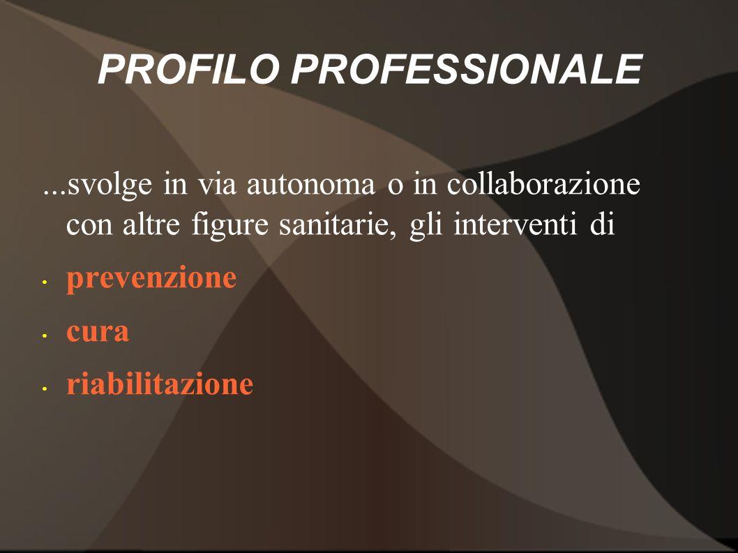 PROFILO PROFESSIONALE...svolge in via autonoma o in collaborazione con altre figure sanitarie, gli interventi di prevenzione cura riabilitazione