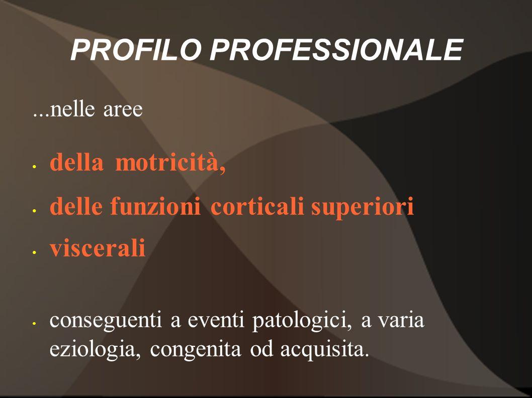 PROFILO PROFESSIONALE...nelle aree della motricità, delle funzioni corticali superiori viscerali conseguenti a eventi patologici, a varia eziologia, c