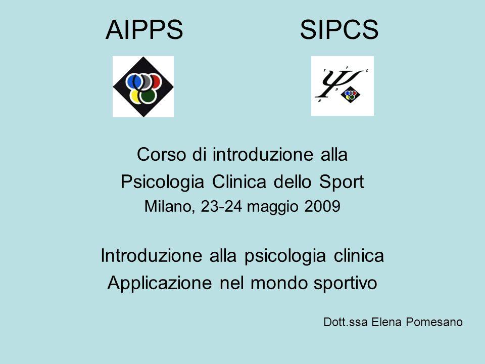 AIPPSSIPCS Corso di introduzione alla Psicologia Clinica dello Sport Milano, 23-24 maggio 2009 Introduzione alla psicologia clinica Applicazione nel mondo sportivo Dott.ssa Elena Pomesano