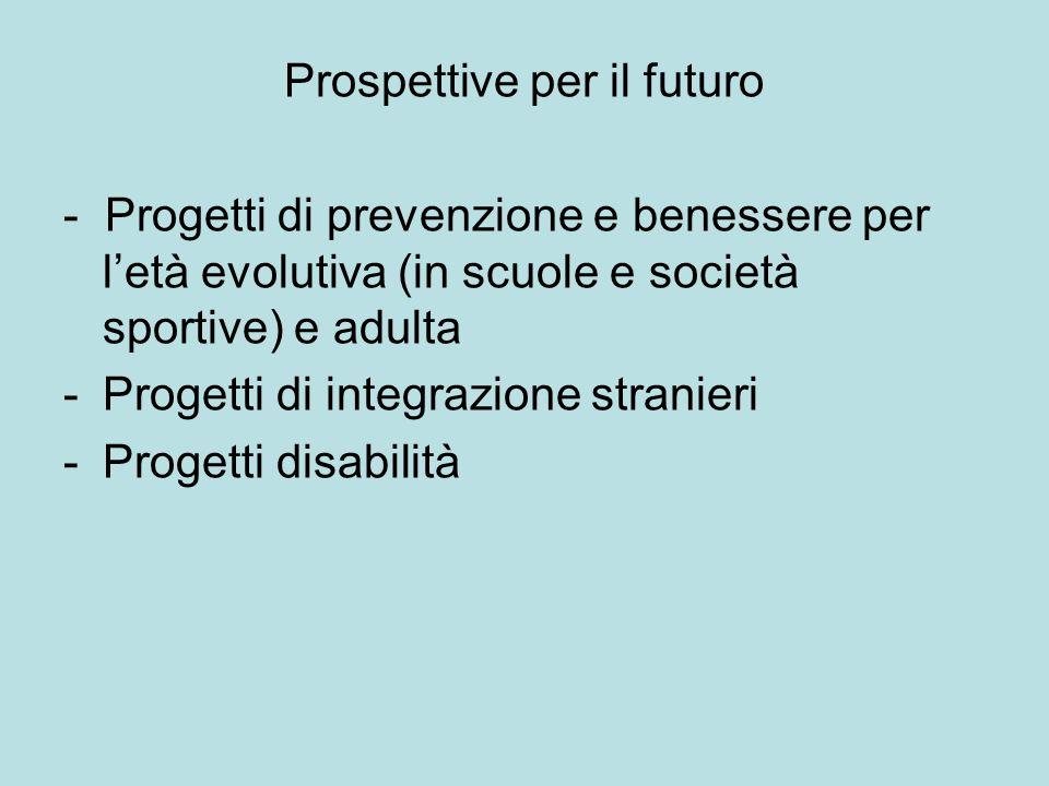 Prospettive per il futuro - Progetti di prevenzione e benessere per letà evolutiva (in scuole e società sportive) e adulta -Progetti di integrazione stranieri -Progetti disabilità