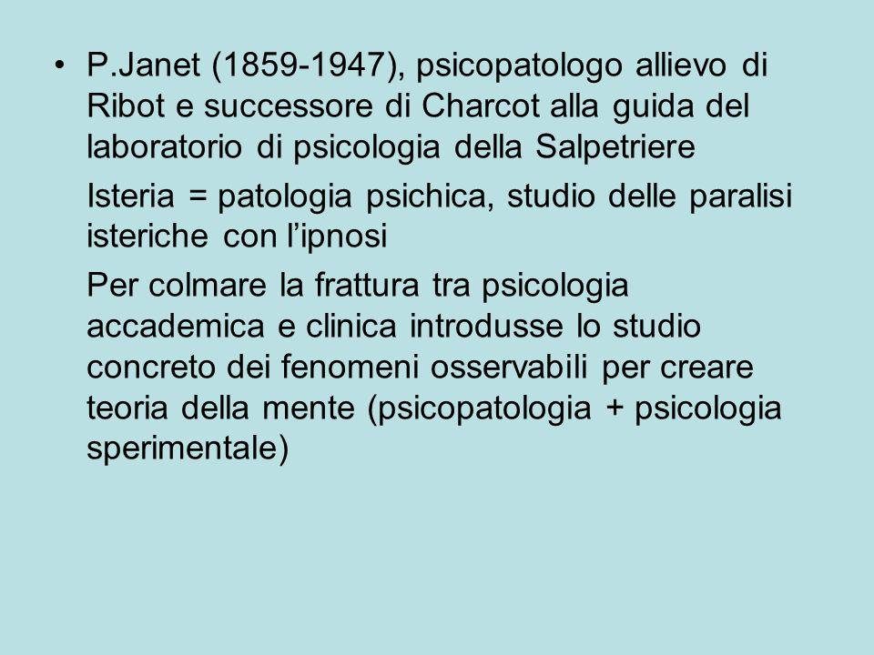 P.Janet (1859-1947), psicopatologo allievo di Ribot e successore di Charcot alla guida del laboratorio di psicologia della Salpetriere Isteria = patologia psichica, studio delle paralisi isteriche con lipnosi Per colmare la frattura tra psicologia accademica e clinica introdusse lo studio concreto dei fenomeni osservabili per creare teoria della mente (psicopatologia + psicologia sperimentale)