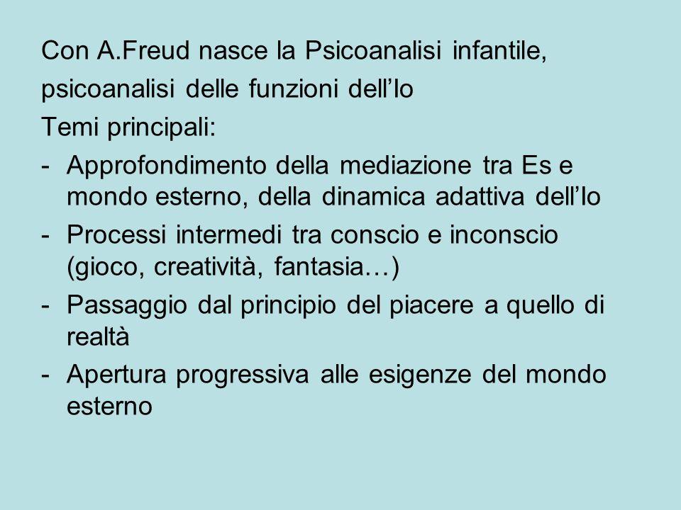 Con A.Freud nasce la Psicoanalisi infantile, psicoanalisi delle funzioni dellIo Temi principali: -Approfondimento della mediazione tra Es e mondo esterno, della dinamica adattiva dellIo -Processi intermedi tra conscio e inconscio (gioco, creatività, fantasia…) -Passaggio dal principio del piacere a quello di realtà -Apertura progressiva alle esigenze del mondo esterno