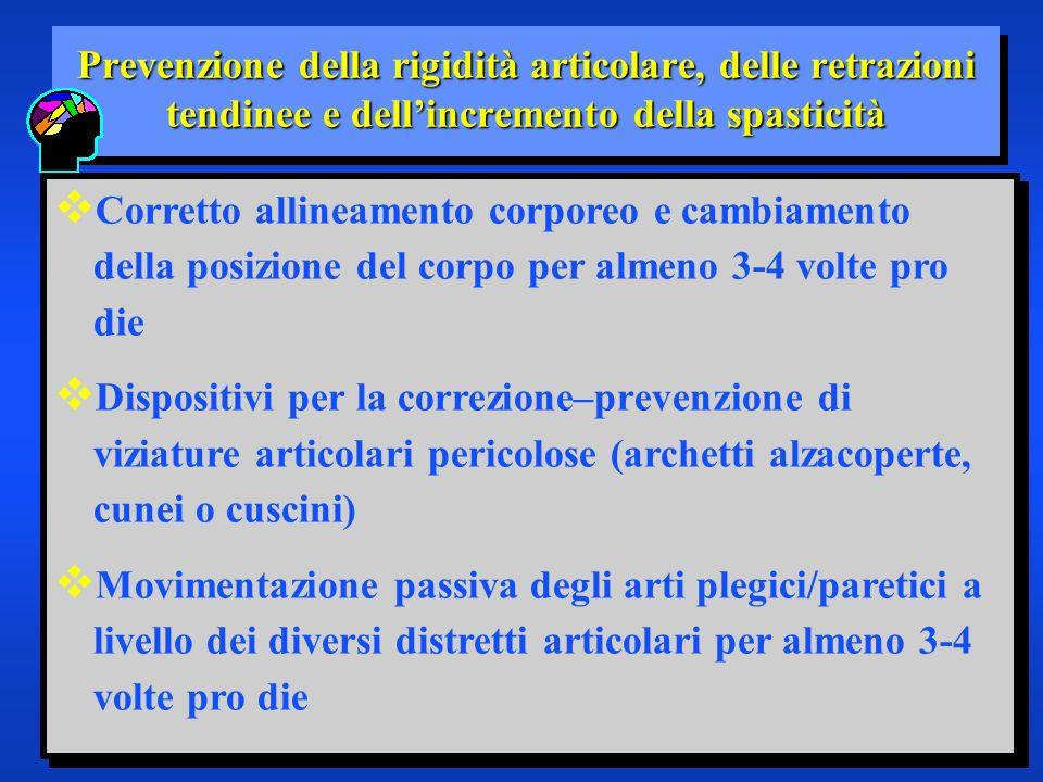 Prevenzione della rigidità articolare, delle retrazioni tendinee e dellincremento della spasticità Corretto allineamento corporeo e cambiamento della