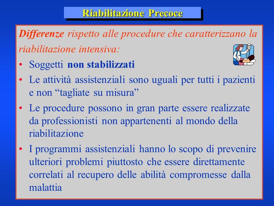Riabilitazione Precoce Differenze rispetto alle procedure che caratterizzano la riabilitazione intensiva: Soggetti non stabilizzati Le attività assist