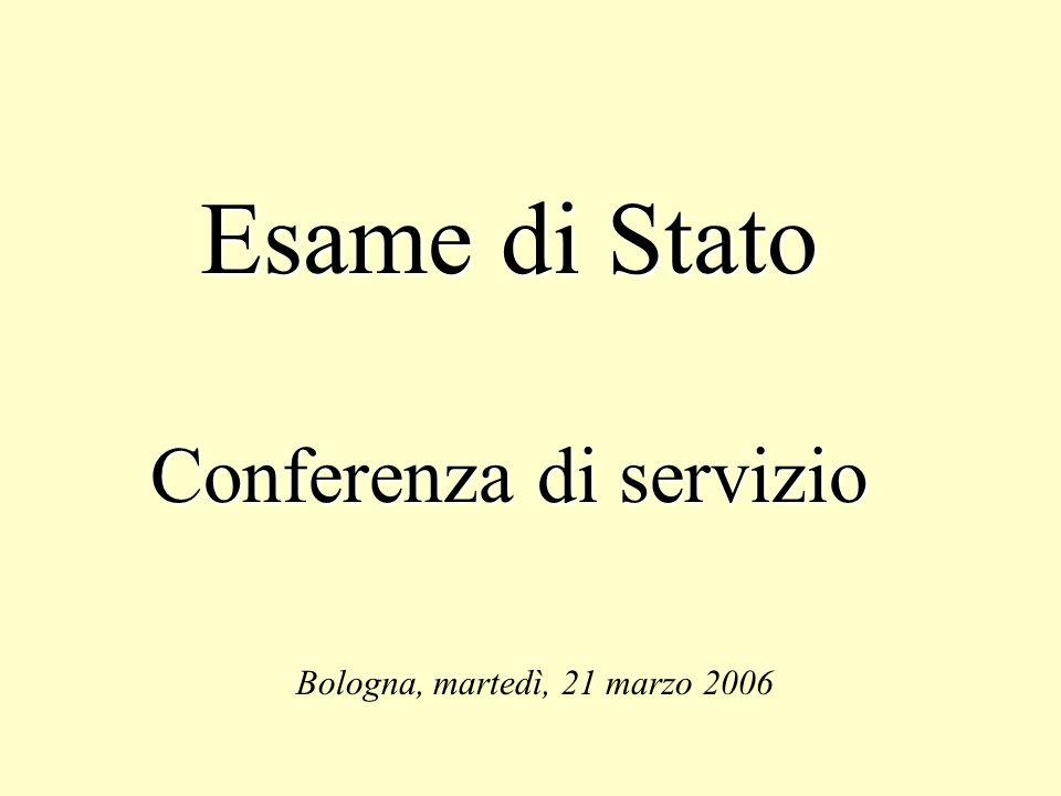 Esame di Stato Conferenza di servizio Bologna, martedì, 21 marzo 2006