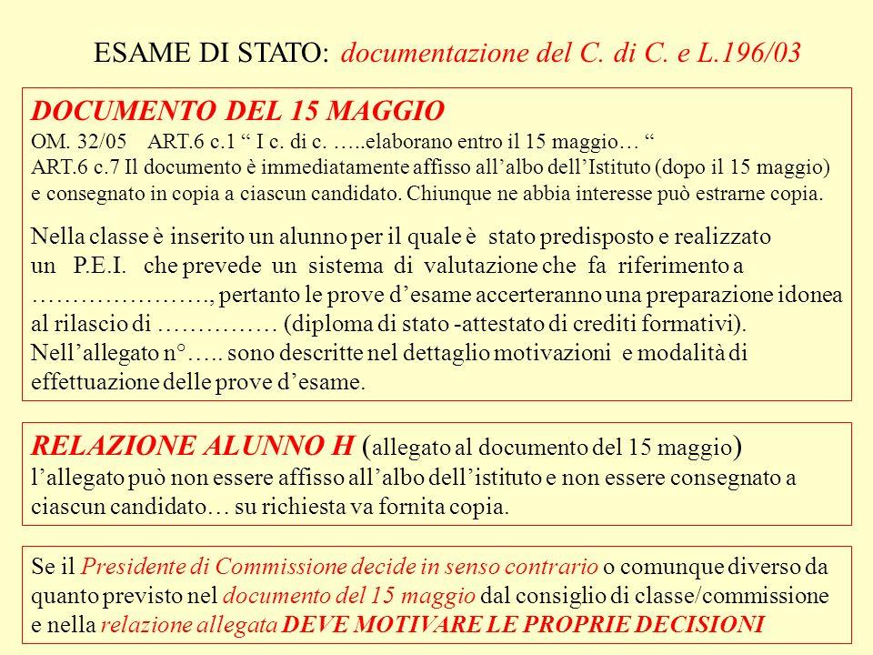 ESAME DI STATO: documentazione del C. di C. e L.196/03 DOCUMENTO DEL 15 MAGGIO OM.