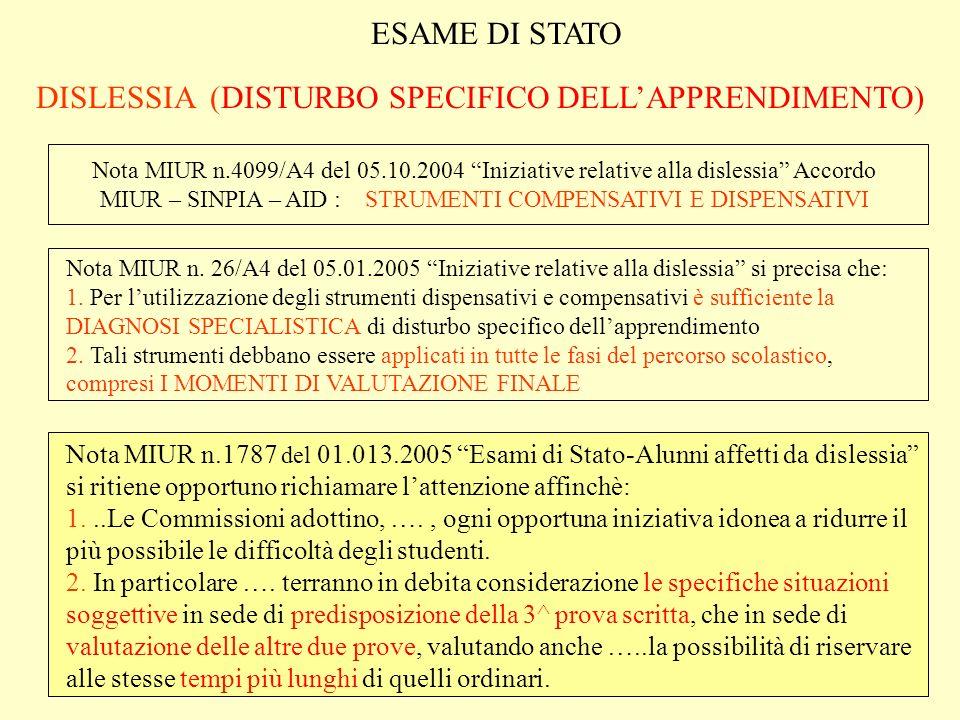 ESAME DI STATO DISLESSIA (DISTURBO SPECIFICO DELLAPPRENDIMENTO) ADEMPIMENTI DEL C.di C.