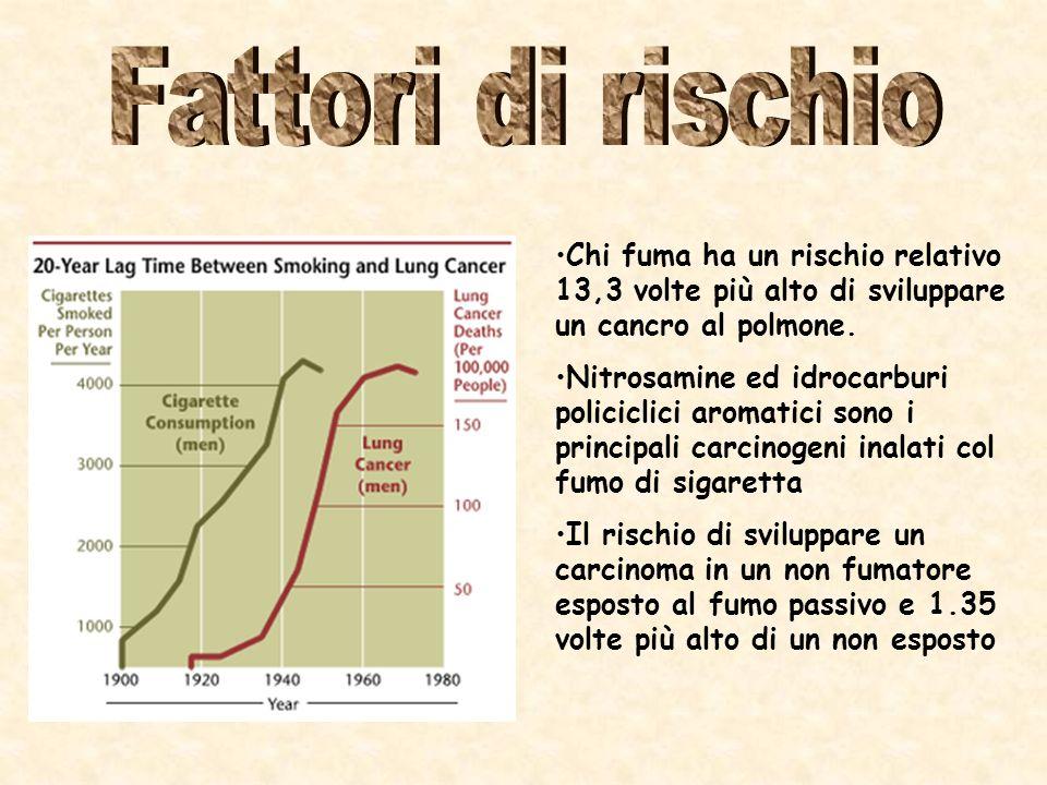 Chi fuma ha un rischio relativo 13,3 volte più alto di sviluppare un cancro al polmone.