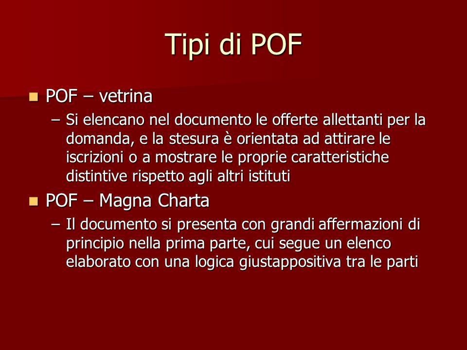 Tipi di POF POF – vetrina POF – vetrina –Si elencano nel documento le offerte allettanti per la domanda, e la stesura è orientata ad attirare le iscri