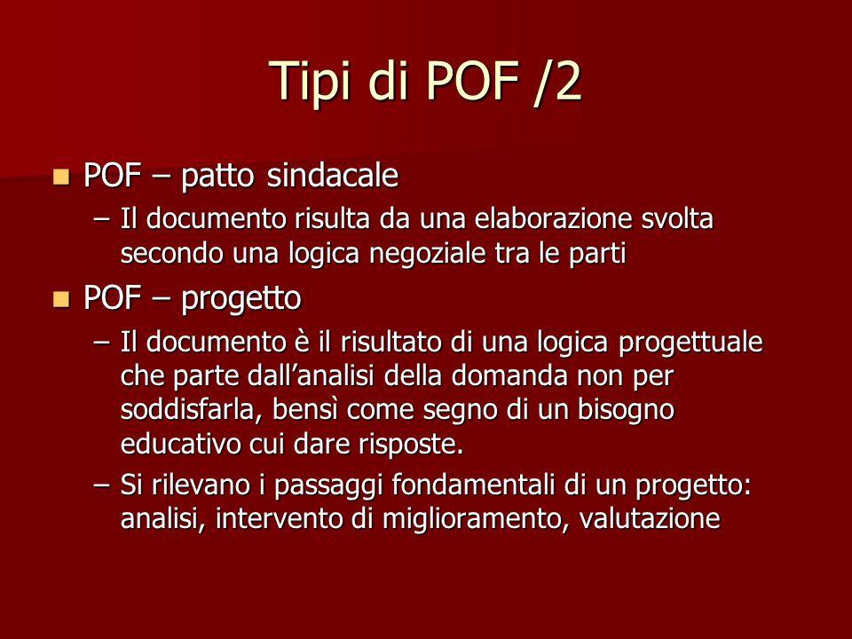 Tipi di POF /2 POF – patto sindacale POF – patto sindacale –Il documento risulta da una elaborazione svolta secondo una logica negoziale tra le parti