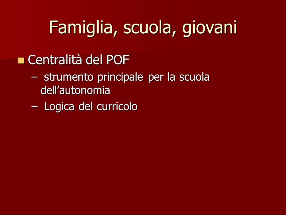 Famiglia, scuola, giovani Centralità del POF Centralità del POF – strumento principale per la scuola dellautonomia – Logica del curricolo
