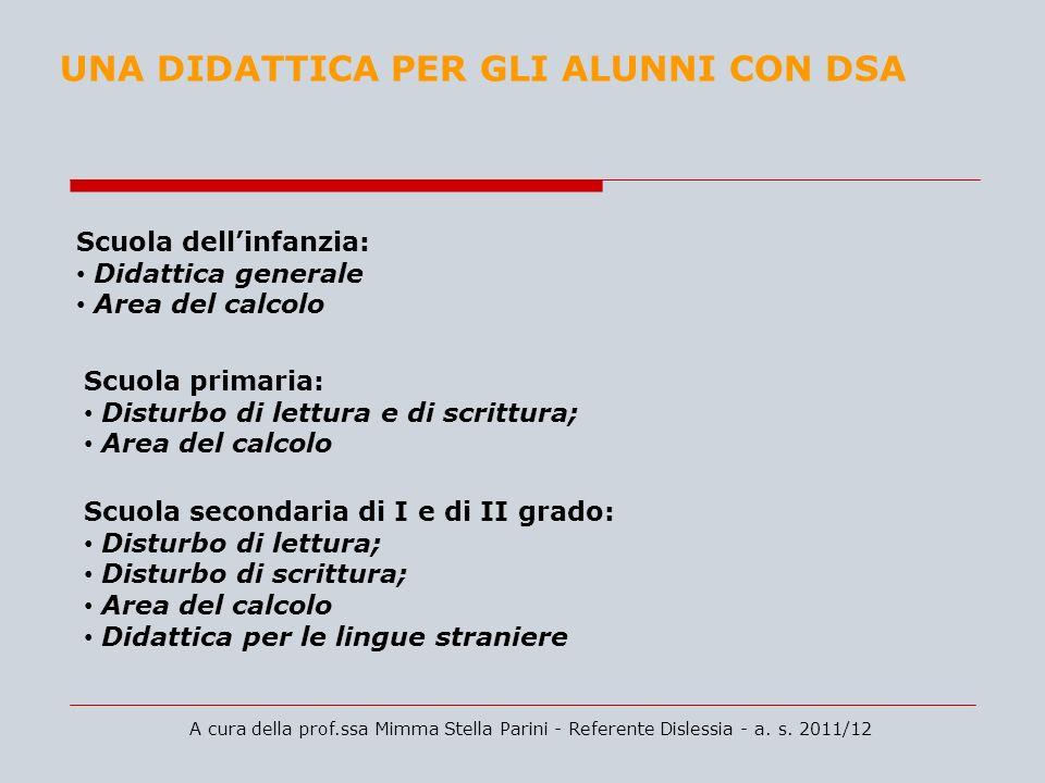 A cura della prof.ssa Mimma Stella Parini - Referente Dislessia - a. s. 2011/12 UNA DIDATTICA PER GLI ALUNNI CON DSA Scuola dellinfanzia: Didattica ge
