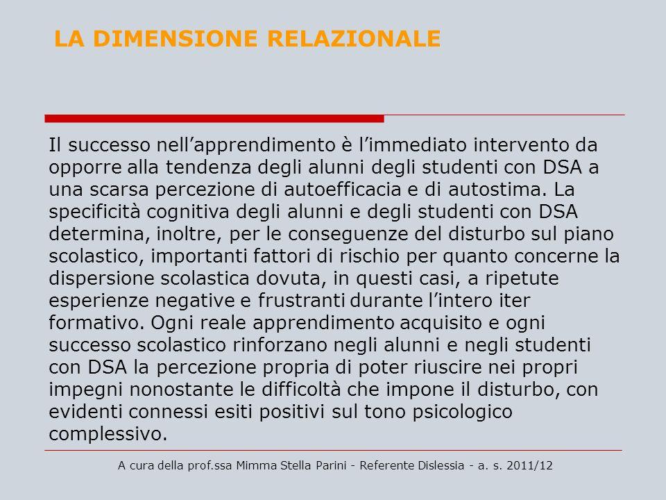 A cura della prof.ssa Mimma Stella Parini - Referente Dislessia - a. s. 2011/12 LA DIMENSIONE RELAZIONALE Il successo nellapprendimento è limmediato i