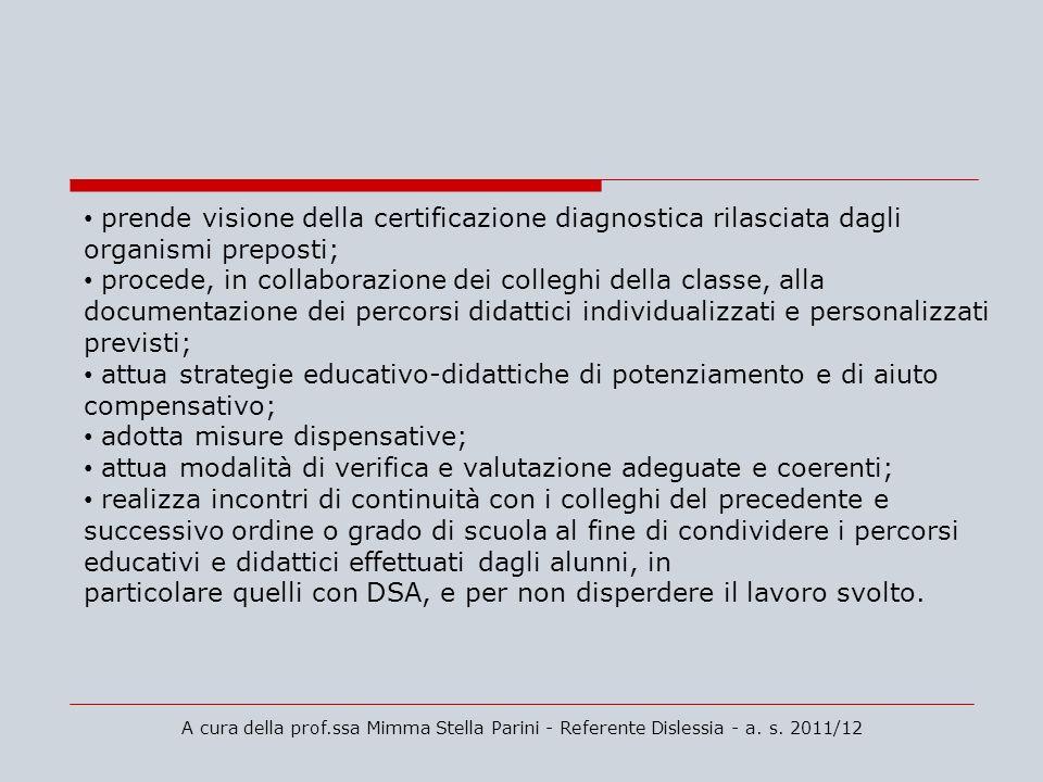 A cura della prof.ssa Mimma Stella Parini - Referente Dislessia - a. s. 2011/12 prende visione della certificazione diagnostica rilasciata dagli organ