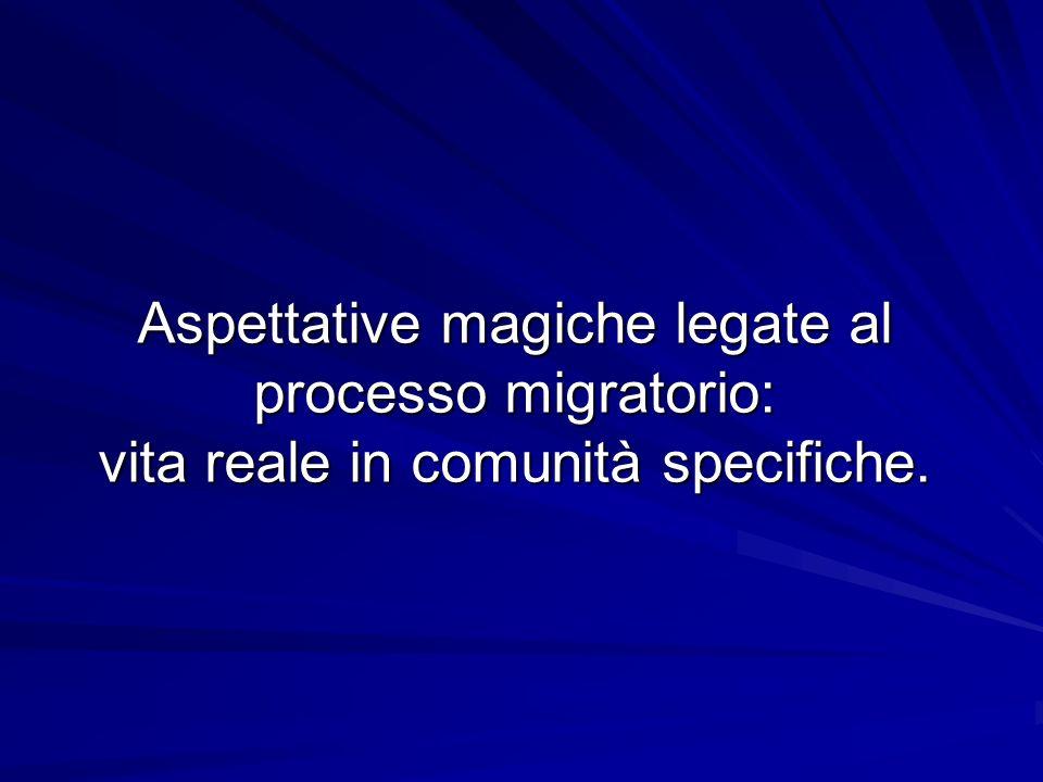 Aspettative magiche legate al processo migratorio: vita reale in comunità specifiche.