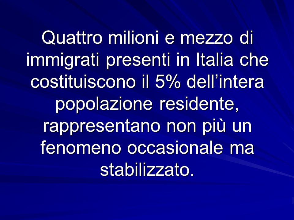 Quattro milioni e mezzo di immigrati presenti in Italia che costituiscono il 5% dellintera popolazione residente, rappresentano non più un fenomeno occasionale ma stabilizzato.