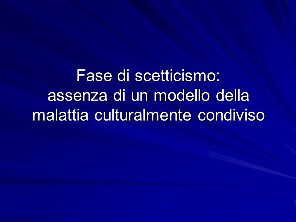 Fase di scetticismo: assenza di un modello della malattia culturalmente condiviso