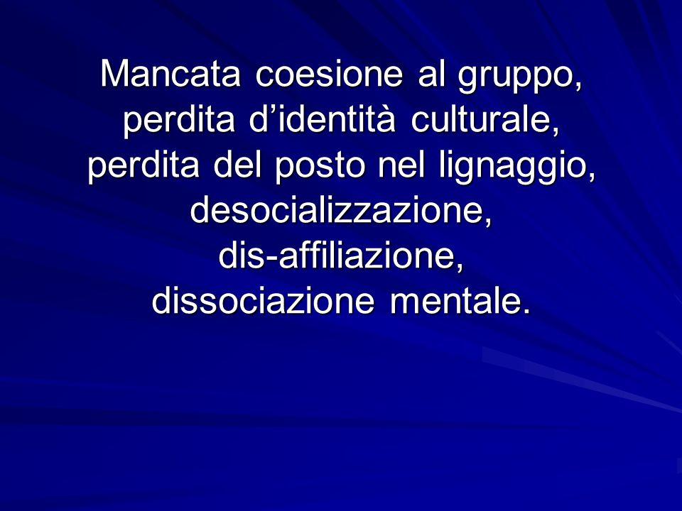 Mancata coesione al gruppo, perdita didentità culturale, perdita del posto nel lignaggio, desocializzazione, dis-affiliazione, dissociazione mentale.