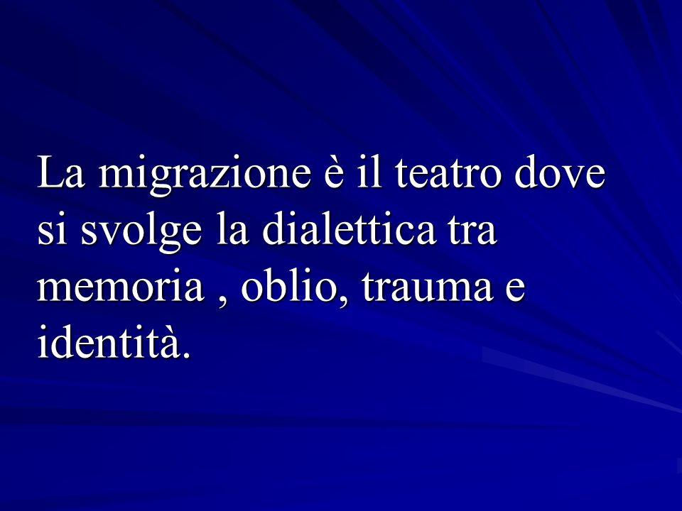 La migrazione è il teatro dove si svolge la dialettica tra memoria, oblio, trauma e identità.