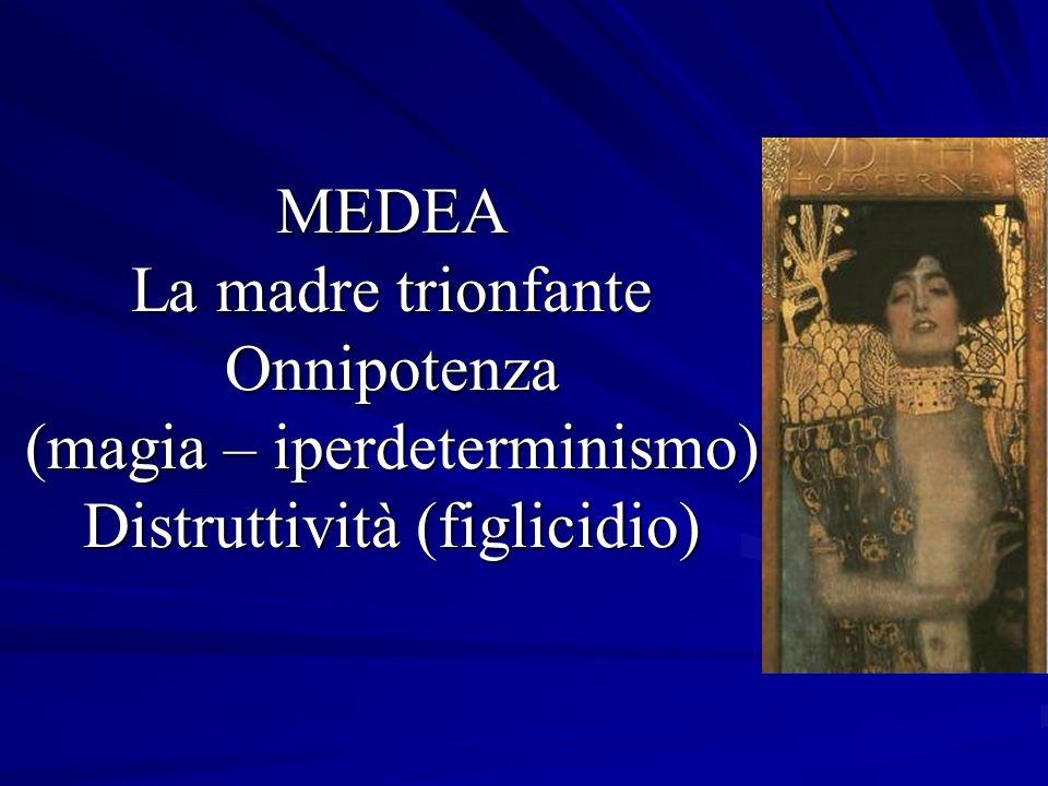 MEDEA La madre trionfante Onnipotenza (magia – iperdeterminismo) Distruttività (figlicidio) MEDEA La madre trionfante Onnipotenza (magia – iperdeterminismo) Distruttività (figlicidio)