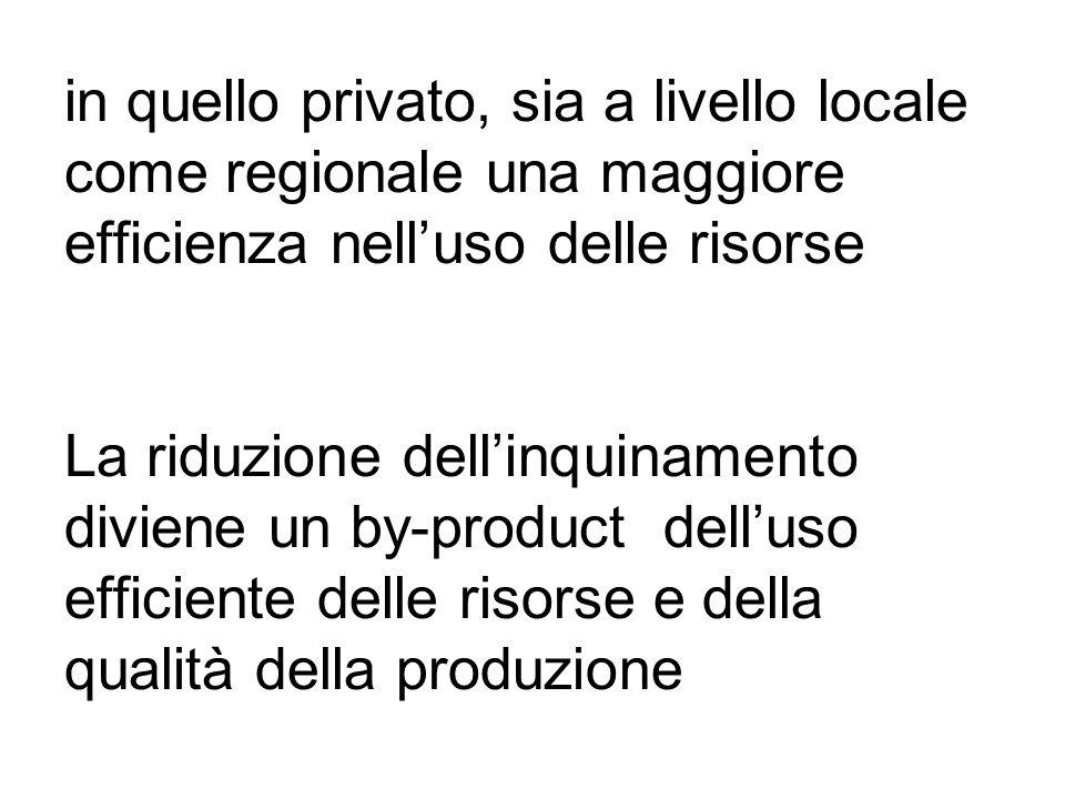 in quello privato, sia a livello locale come regionale una maggiore efficienza nelluso delle risorse La riduzione dellinquinamento diviene un by-product delluso efficiente delle risorse e della qualità della produzione
