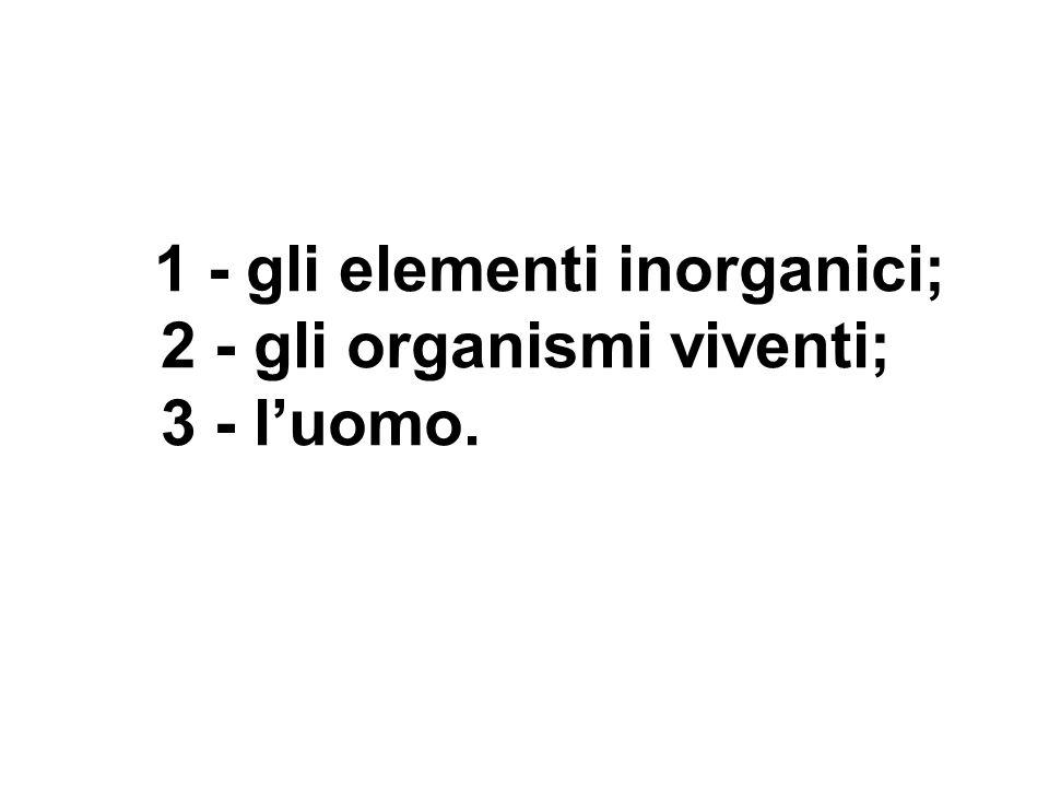 1 - gli elementi inorganici; 2 - gli organismi viventi; 3 - luomo.