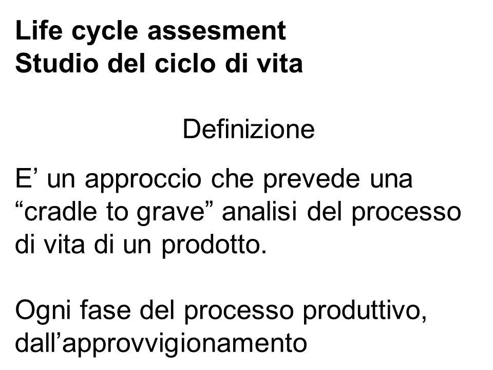 Life cycle assesment Studio del ciclo di vita Definizione E un approccio che prevede una cradle to grave analisi del processo di vita di un prodotto.