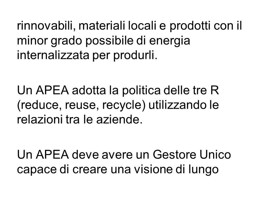 rinnovabili, materiali locali e prodotti con il minor grado possibile di energia internalizzata per produrli. Un APEA adotta la politica delle tre R (