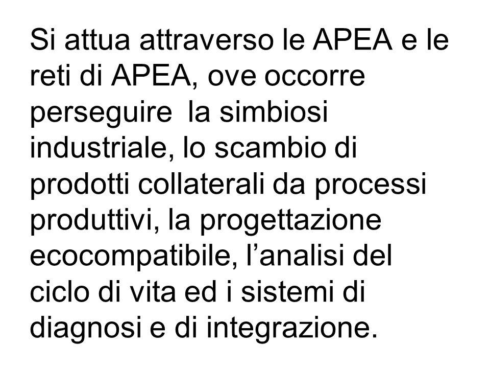 Si attua attraverso le APEA e le reti di APEA, ove occorre perseguire la simbiosi industriale, lo scambio di prodotti collaterali da processi produttivi, la progettazione ecocompatibile, lanalisi del ciclo di vita ed i sistemi di diagnosi e di integrazione.