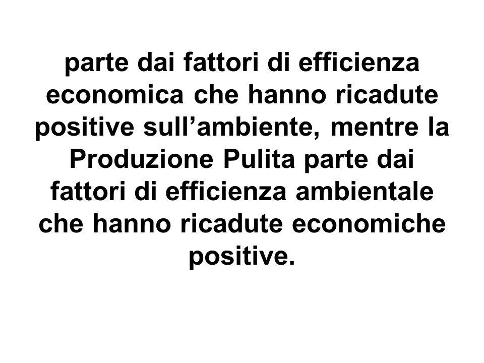 parte dai fattori di efficienza economica che hanno ricadute positive sullambiente, mentre la Produzione Pulita parte dai fattori di efficienza ambientale che hanno ricadute economiche positive.