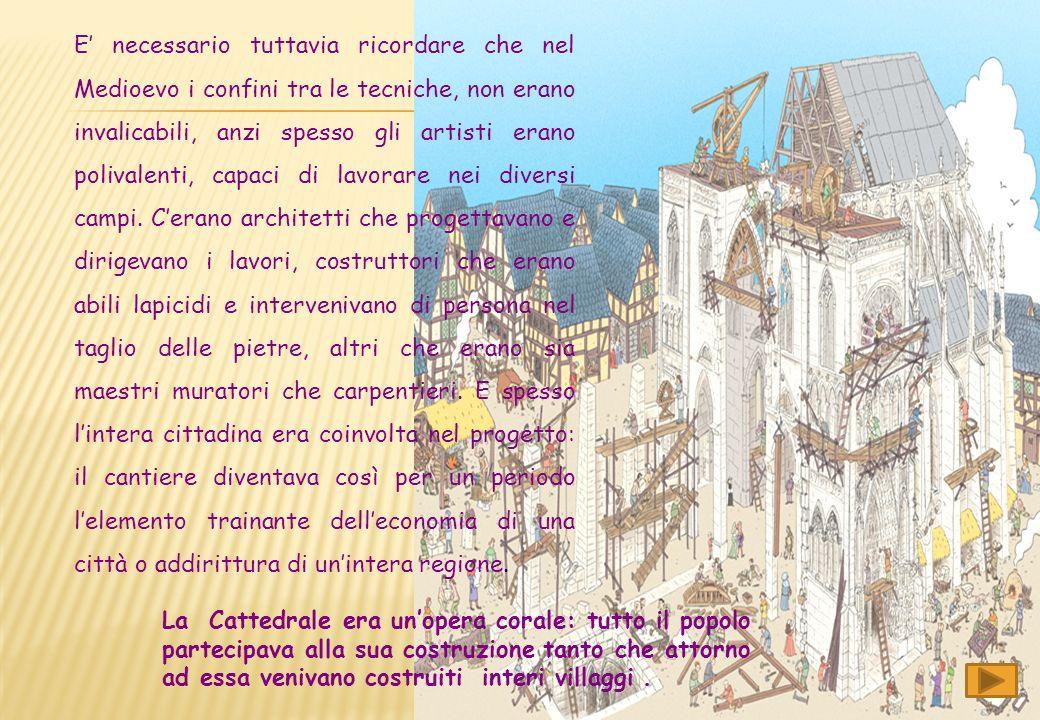 Le cattedrali, erano frutto di un lungo lavoro di idee e di una collaborazione tra numerose persone. Il cantiere edile medievale, era il luogo dove le