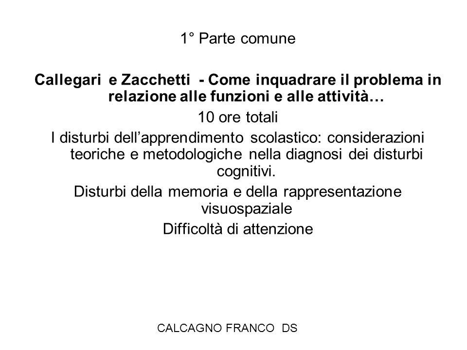 1° Parte comune Callegari e Zacchetti - Come inquadrare il problema in relazione alle funzioni e alle attività… 10 ore totali I disturbi dellapprendimento scolastico: considerazioni teoriche e metodologiche nella diagnosi dei disturbi cognitivi.