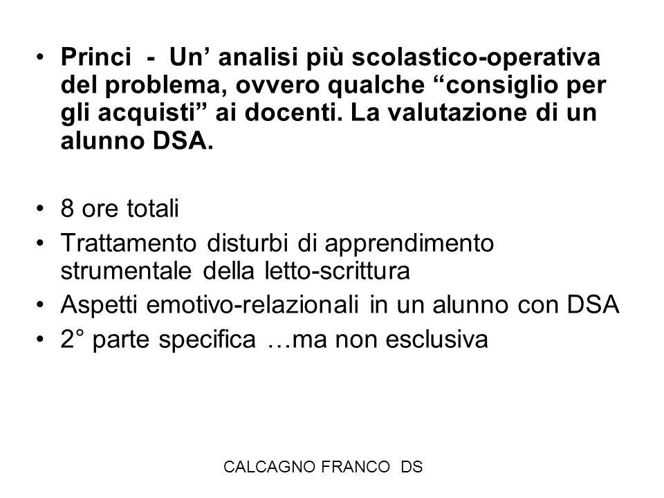 CALCAGNO FRANCO DS Princi - Un analisi più scolastico-operativa del problema, ovvero qualche consiglio per gli acquisti ai docenti. La valutazione di