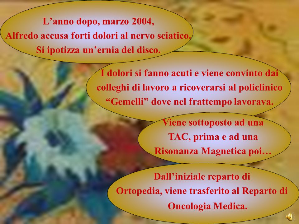 Lanno dopo, marzo 2004, Alfredo accusa forti dolori al nervo sciatico. Si ipotizza unernia del disco. Viene sottoposto ad una TAC, prima e ad una Riso