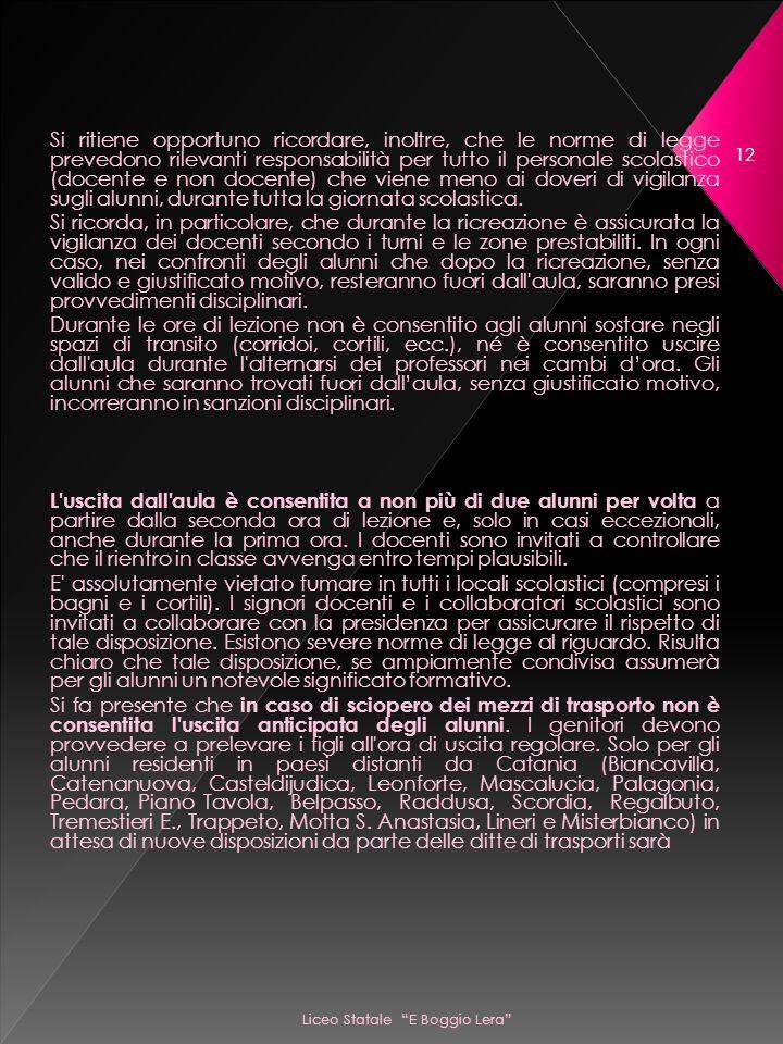 Liceo Statale E Boggio Lera 12 Si ritiene opportuno ricordare, inoltre, che le norme di legge prevedono rilevanti responsabilità per tutto il personale scolastico (docente e non docente) che viene meno ai doveri di vigilanza sugli alunni, durante tutta la giornata scolastica.