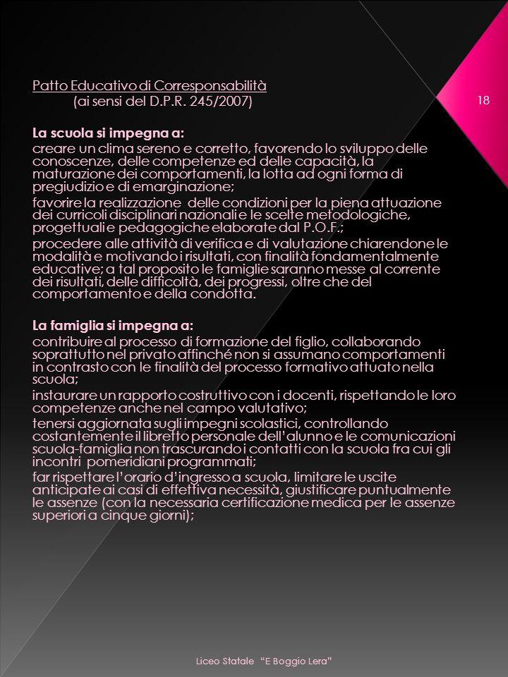 Liceo Statale E Boggio Lera 18 Patto Educativo di Corresponsabilità (ai sensi del D.P.R.