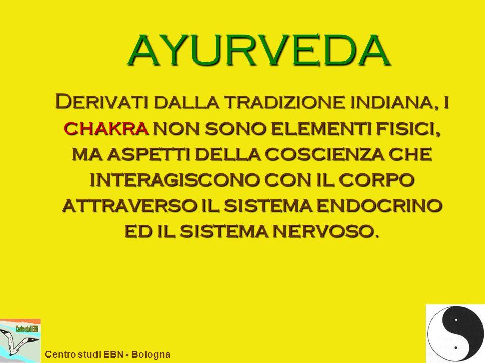 AYURVEDA Derivati dalla tradizione indiana, i chakra non sono elementi fisici, ma aspetti della coscienza che interagiscono con il corpo attraverso il