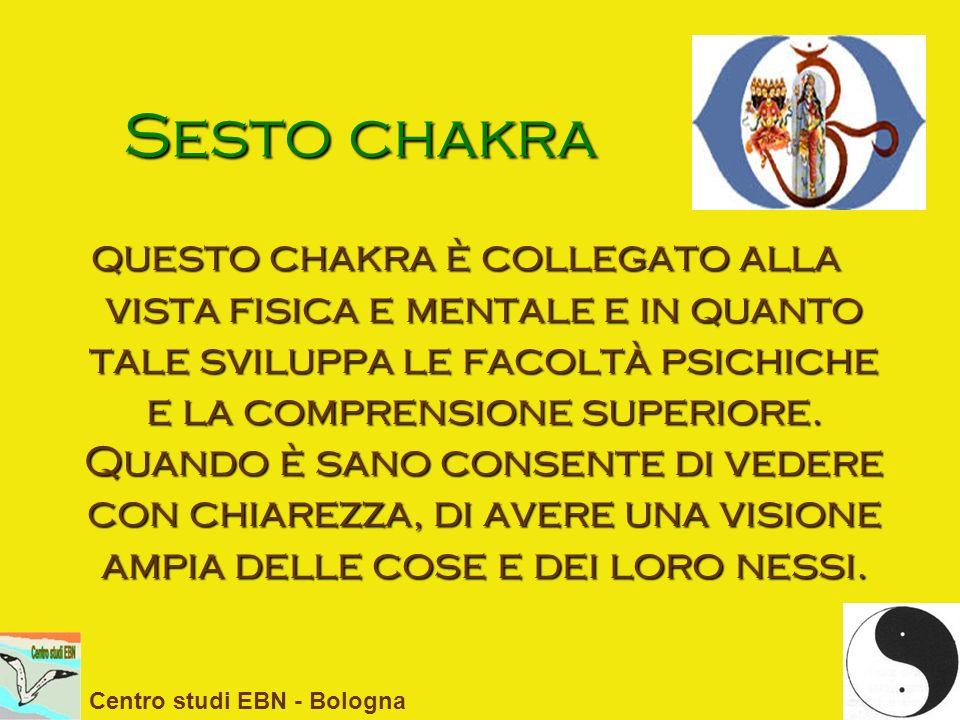 Sesto chakra questo chakra è collegato alla vista fisica e mentale e in quanto tale sviluppa le facoltà psichiche e la comprensione superiore. Quando