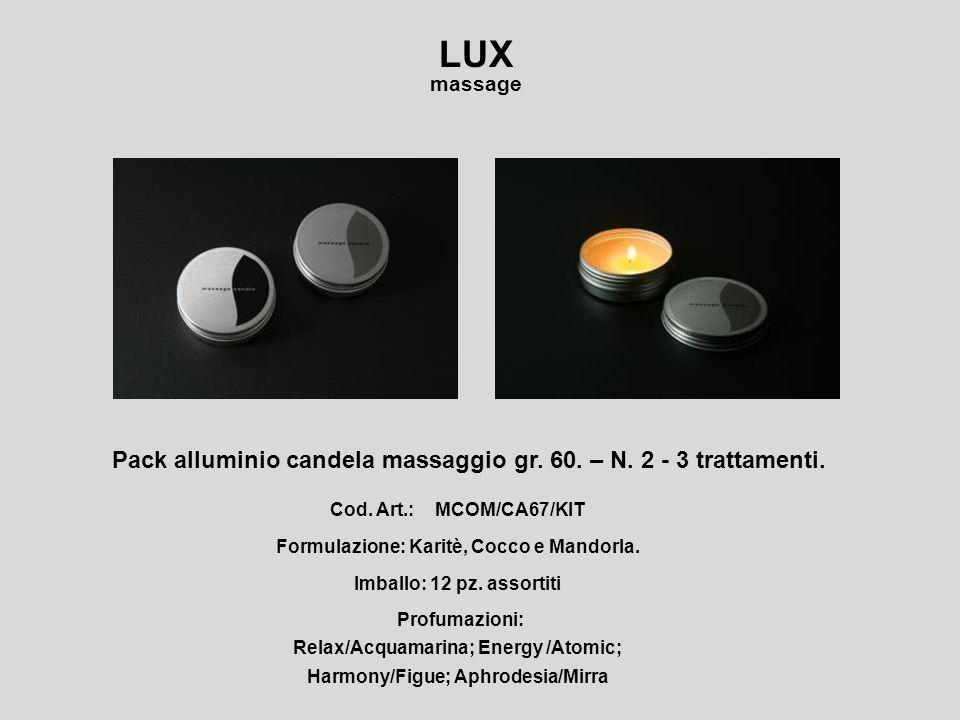 Lux massage,candela per il massaggio, a base di burro di karitè, olio di cocco e mandorla.