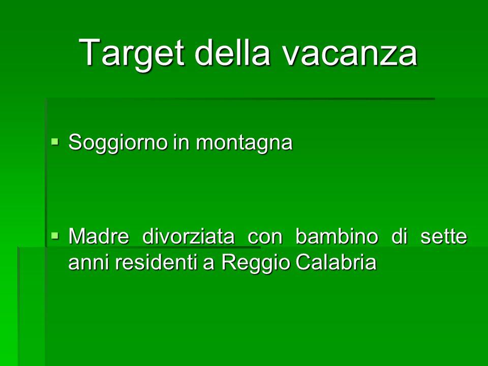 Target della vacanza Soggiorno in montagna Soggiorno in montagna Madre divorziata con bambino di sette anni residenti a Reggio Calabria Madre divorziata con bambino di sette anni residenti a Reggio Calabria